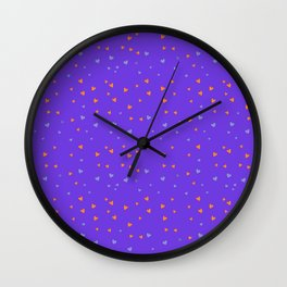 St. Valentine's Day Pattern. Lilac pattern, blue and yellow small hearts Wall Clock