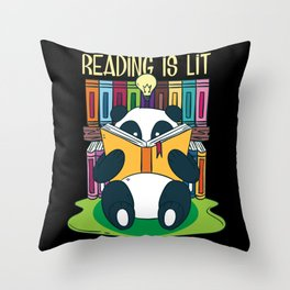Funny Reading Is Lit English Teacher Avid Tea Gift Throw Pillow