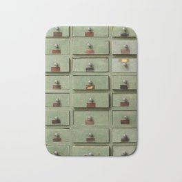 Old wooden cabinet with drawers Bath Mat