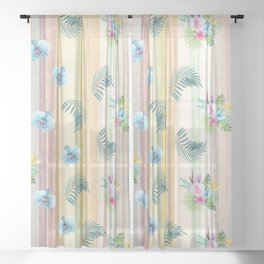 Hawaiian Orchids and Palms in Watercolor Sheer Curtain