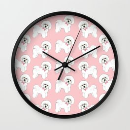 Bichon Frise pink bows christmas holiday themed pattern print pet friendly dog breed gifts Wall Clock