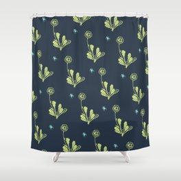 Spider Daisies (green + navy) Shower Curtain