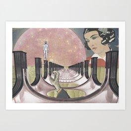 Pink Moon Lagoon Art Print