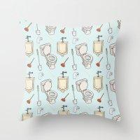 bathroom Throw Pillows featuring Bathroom Pattern by Josh LaFayette