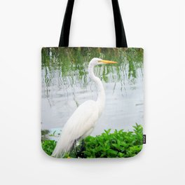 The Great White Egret:) (pointillism)   Large White Bird   Nature Photography Tote Bag