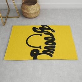 Groovy Smile // Black Smiley Face Fun Retro 70s Hippie Vibes Mustard Yellow Lettering Typography Art Rug