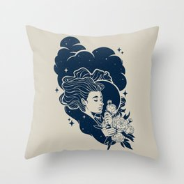 Waning Stargazer Throw Pillow