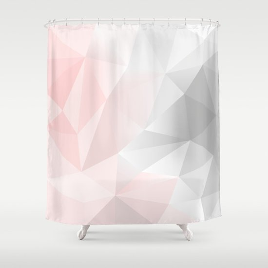 pink and gray geometric low poly background shower curtain by artsimo society6. Black Bedroom Furniture Sets. Home Design Ideas