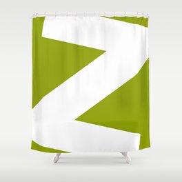 Sans Serif Z. White on Green. Shower Curtain