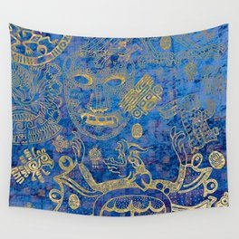 Mexican gold on blue Wall Tapestry