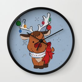 Christmas Baby Reindeer Wall Clock