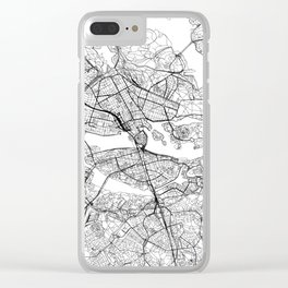 Stockholm White Map Clear iPhone Case