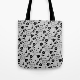 Grayscale Hipster Elements Pattern Tote Bag