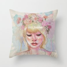 Watercolors and Floral Crowns Throw Pillow