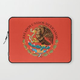 Mexican National Coat of Arms & Seal on Adobe Red Laptop Sleeve
