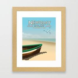 Newquay England beach poster. Framed Art Print