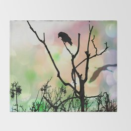 The Lonely Crow At Sunset Throw Blanket