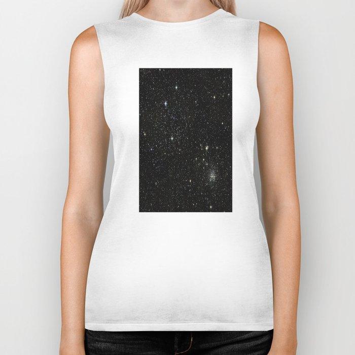 Universe Space Stars Planets Galaxy Black and White Biker Tank