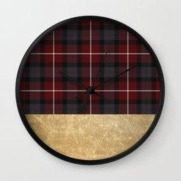 Golden Tartan Wall Clock