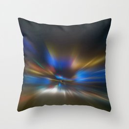 Light Trails in the Dark, Traffic Light Trails, Abstract Traffic Lines Throw Pillow