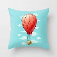 hot air balloon Throw Pillows featuring Hot Air Balloon by Freeminds