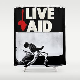 Live Aid 1985 Vintage Concert Festival Gig Advertising Music Poster Shower Curtain