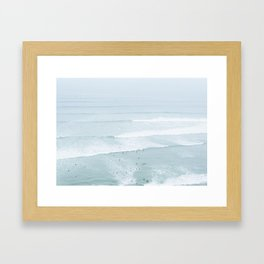 Tiny Surfers from the Sky, Lima, Peru Framed Art Print