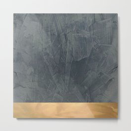 Slate Gray Stucco w Shiny Copper Metallic Trim - Faux Finishes - Rustic Glam Metal Print