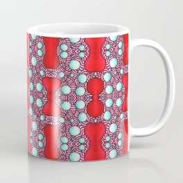 Psychedelic Bone Mind Bending Red and Blue Pattern Coffee Mug