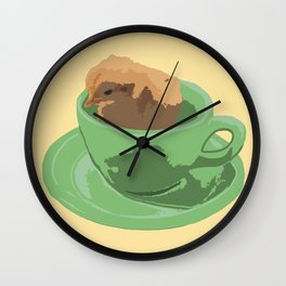 Baby Chick in Jadeite Cup Illustration Wall Clock