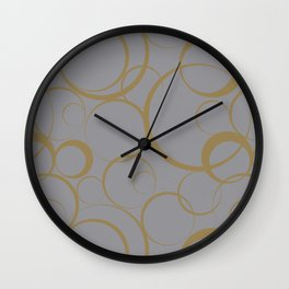 Gray and Brown Funky Ring Pattern V21 2021 Color of the Year Ultimate Gray & Accent Shade Wall Clock