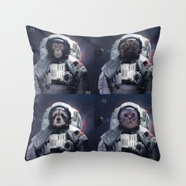 animals astronaut in the universe with stars and space dust Throw Pillow