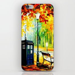 Tardis Art Behind Tree iPhone Skin
