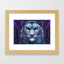 Snow Leopard Late Night Framed Art Print