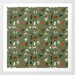 Coonhounds on Olive Art Print