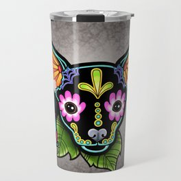 Chihuahua in Black - Day of the Dead Sugar Skull Dog Travel Mug