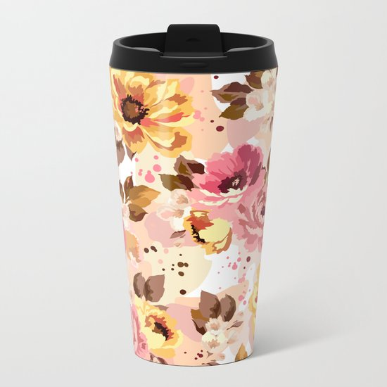 Pattern Flowers 01 Metal Travel Mug