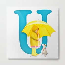 U is for Umbrella Metal Print
