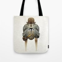 walrus Tote Bags featuring walrus by Manoou