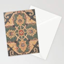Geometric Leaves VI // 18th Century Distressed Red Blue Green Colorful Ornate Accent Rug Pattern Stationery Cards