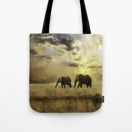 african landscape with elephants Tote Bag