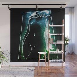 Glowing Cosmic Goddess (Blue/Green) Wall Mural