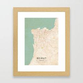 Beirut, Lebanon - Vintage Map Framed Art Print