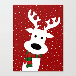 Reindeer in a snowy day (red) Canvas Print