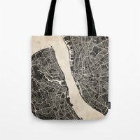 liverpool Tote Bags featuring liverpool map ink lines by NJ-Illustrations