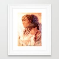 snk Framed Art Prints featuring SNK Levia and Erwin by T.Wolv