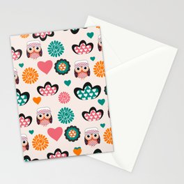 Owls and hearts Stationery Cards