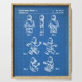 Legos Patent - Block Man Art - Blueprint Serving Tray
