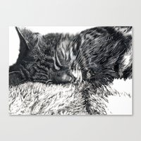 charlie Canvas Prints featuring Charlie by Lucy Schmidt Art