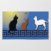 greece Area & Throw Rugs featuring Greece Cats by LoRo  Art & Pictures